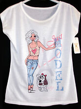Maxi t-shirt maglietta donna estate stampa modella e cane taglia Unica