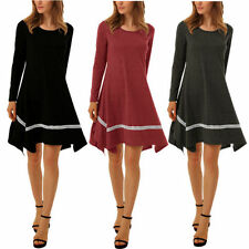 Cotton Blend Casual Solid Dresses for Women