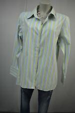 EDDIE BAUER Bluse Hemd  L 46 Grün-Blau-Weiß Klassisch Langarm Gestreift  TOP