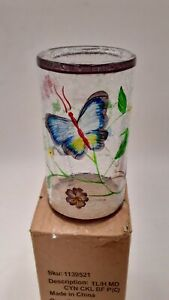 Yankee Candle BUTTERFLY CRACKLE Glass Tea Candle Holder 5 INCH 1139521