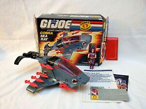 Vintage GI Joe Cobra Sea Ray w/ accessories figure blueprints 1987 - cut box