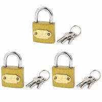 Chain Gate Cabinet Door Locking Security Shackle Lock Padlock 3pcs w Keys