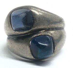 Vintage Sterling Silver Ring 925 Size 4 Blue Glass Band Double Unique