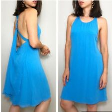 Alice & Olivia Blue Silk & Lambs Leather Low Racerback Floaty Dress Size S $420