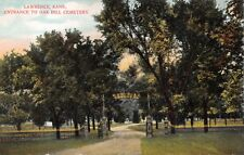 LAWRENCE KANSAS~ENTRANCE TO OAK HILL CEMETERY~C W METINER PUBL POSTCARD 1910s