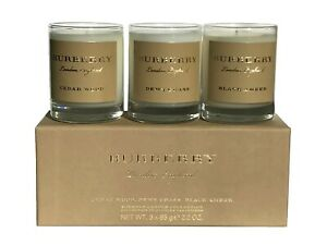 Burberry Perfumed Candle Collection 3x 65g Cedar Wood Dewy Grass Black Amber