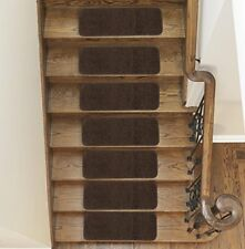"""Sweethome Stores Non-Slip Shag Carpet Stair Treads, (9""""X26"""")-14 Pack- Brown"""