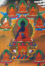 "32"" SILK BROCADED BLESSED GOLDEN WOOD SCROLL TIBETAN THANGKA 8 MEDICINE BUDDHA ="