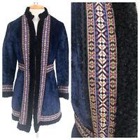 Vintage VTG 1960s 60s Russian Quilted Lamb Fur Velvet Coat