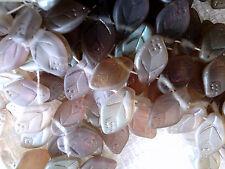 vtg 100 MATTE IRIDESCENT LAVENDER VEINED GLASS LEAVES 12mm TOP HOLE  #041115g
