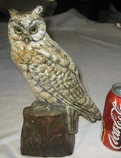 ANTIQUE CJO JUDD #1287 CAST IRON OWL ON TREE STUMP ART STATUE SCULPTURE DOORSTOP