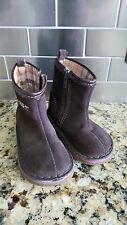 BABY GAP Brown Suede Leather Floral Zipper Boots Infant Size 5 Brazil