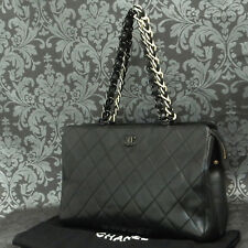 Rise-on CHANEL Matelasse Lamb Skin Black Plastic Chain Shoulder Tote bag #2022