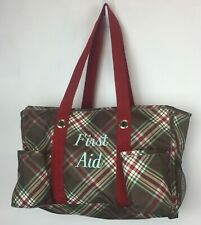 Thirty One Keep It Caddy Large Utility Tote Bag First Aid Plaid Brown Open EUC
