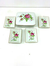 Chase Japan Cigarette Box With Ashtrays Porcelain Roses Vintage
