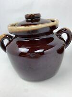 Vintage McCoy - Lancaster Era 74'-85' Brown Drip Glazed Pottery Jug With Lid