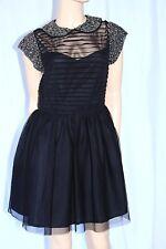 ASOS blk peter pan collar corset dress babydoll tutu mesh gothic beaded S/6/10