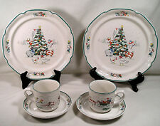 International China Country Christmas Dishes 2 Dinner Plates 2 Cups & Saucer Set