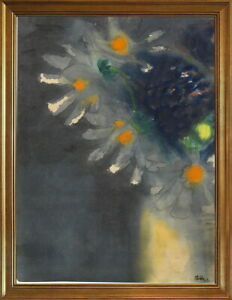 Classic Framed Emil Nolde Blue and white flowers Giclee Canvas Print