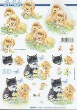Feuille 3D à découper A4 777.179 Chien et chat Decoupage Dog and Cat