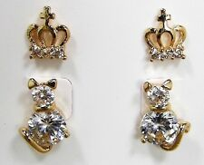 BETSEY JOHNSON Cat and Crown Cubic Zirconia  Gold Tone Stud Earrings Duo Set