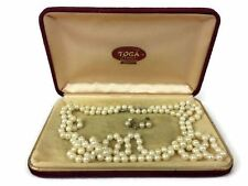 """2 24"""" Strands of Cultured Pearl Necklace by Toga 14k White Gold Clasp Earrings"""