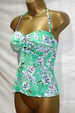 NEXT ~ LADIES GREEN FLORAL PRINT PADDED BANDEAU SEQUIN TANKINI TOP ~ SIZE 10