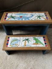 "Wood and Mosaic Tile Step Stool Footstool Dino Dinosaurs 15.5"" x 12.5"" x 12"" FS"