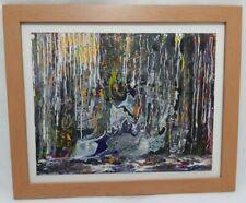 Abstract Art 'The Meltdown' Acrylic Painting Glazed Frame Patricia May Clark