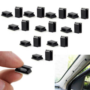 40x Car Wire Cord Cable Holder Tie Clips Fixer Organizer Drop Adhesive Clamp