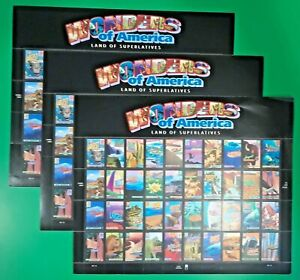 Three Big Sheets x 40 = 120 of WONDERS OF AMERICA 39¢ US USA Stamps Sc 4033-4072