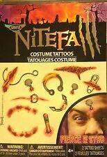 NiteFall Scary Blood Stab Pierce Temporary Halloween Costume Tattoo Body Art NEW