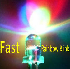 100pcs 5mm RGB (Red, Green, Blue) Fast Flash Round LED Lamps Rainbow Blink #0181