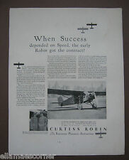 Vintage 1930 Curtiss Robin Airplane Original Print Ad
