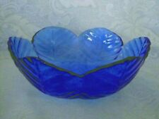 Collectible Cobalt Blue Petal/Leaf Pressed Glass Scalloped Serving Bowl