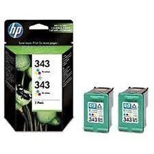 2 HP Original No 343 Tri-colour Ink Cartridges New CB332EE for deskjet Printers