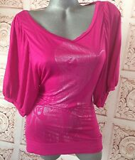 MNG Sexy Club Top Women's M Medium Blouse Hit Pink Silver 3/4 Sleeve V-neck