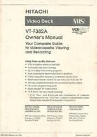 Hitachi VT-F382A Original Instruction Manual For VCR Video Cassette Recorder