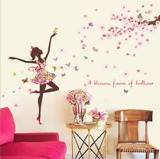 Removable Vinyl Wall Decal FaIry flower Girl Sticker Home Room DIY Home Decor