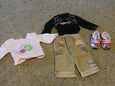 American Girl SPARKLY SPORT Pink Camo CARGO PANTS SHIRT Shoes & Bonus