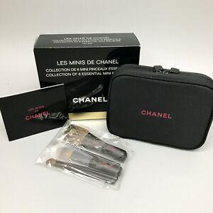 CHANEL Les Minis De Chanel Makeup Cosmetic Set Pouch & 6 Essential Mini Brushes