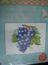 Purple Grapes On Vine Counted Cross Stitch Kit 5x7 Inches