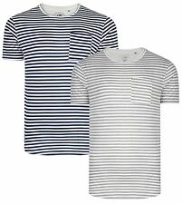 Ringspun New Men's Stripe Shifty T-Shirts Cotton Plain Jersey Tee Top