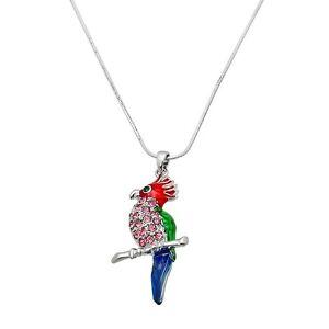 "Parrot Charm Pendant Necklace - Sparkling Crystal - 17"" Chain - 4 Colors"