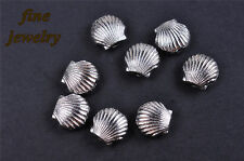50Pcs 9mm Bead Spacer Shell Charms Silver DIY Jewelry Fit Bracelet Necklace 7016