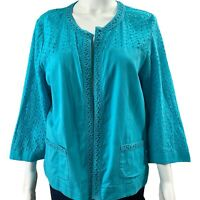 Chicos Linen Size 2 MEDIUM Jacket Lightweight Eyelet Fiesta Blue 3/4 Sleeve NWT