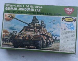German armored car 1/50 model kit wind up motor japanese maker  box mouldy