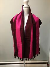 "J. Crew Brushed Silk Striped Scarf 64"" x 15""  NWT Maroon Pink with Tassels G0157"