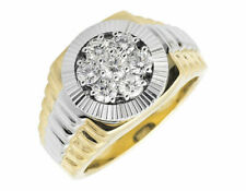 10k Two Tone Gold Round Starburst Frame Step Shank Genuine Diamond Ring 1.0ct