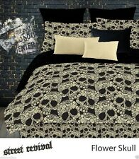 veratex 100 polyester fully reversible 4piece modern flower skull comforter set queen size multicolor